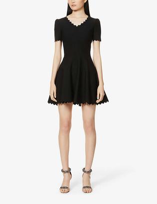 Scalloped-trim wool-blend mini dress