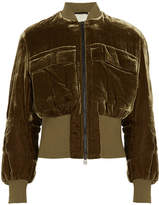 By Malene Birger Banu Velvet Bomber Jacket - Army green