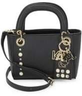 Karl Lagerfeld Embellished Faux Leather Satchel Bag