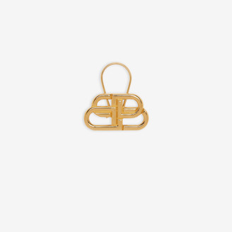 Balenciaga BB Clasp Keyring in shiny gold brass