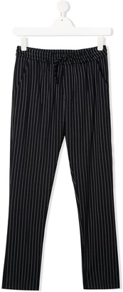 Paolo Pecora Kids TEEN drawstring-waist pinstriped trousers