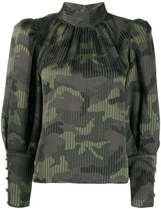Alice + Olivia Winslet camouflage blouse