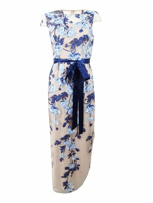Adrianna Papell Women's Cascading Floral Column Gown