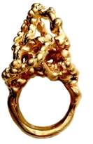 Imogen Belfield Bubbling Filigree 22ct Yellow Gold Plated Bronze Ring- Size L