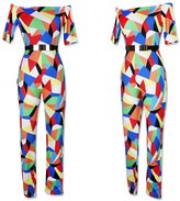 Ehomeife Women's Sexy Off SWomen Sexy off shouder Printed Jumpsuits Bodycon Rompers One Piece with Bethouder Jumpsuits High Waistong Pants Bodycon Rompers (, Coorfu Paid)