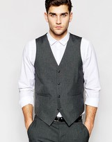 Asos Slim Vest In Charcoal Gray