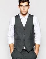 Asos Slim Waistcoat In Charcoal Grey
