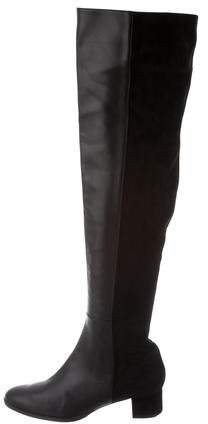 Manolo Blahnik Pointed-Toe Over-The-Knee Boots