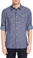 John Varvatos Roll Sleeve Slim Fit Floral Chambray Shirt