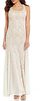 Jump Glitter Lace Godet-Inset Pearl Trimmed Long Dress