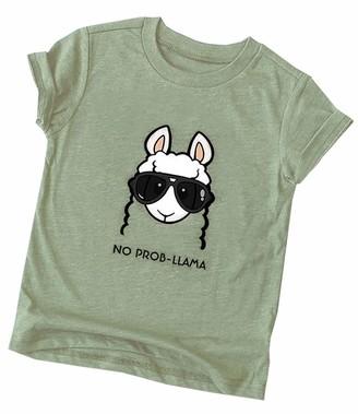 Doballa Women's Sunglass Sheep Print Crewneck Tee Tops Casual Short Sleeve T Shirts Olive