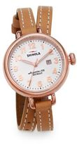 Shinola Birdy Rose Goldtone PVD Stainless Steel & Leather Double-Wrap Watch