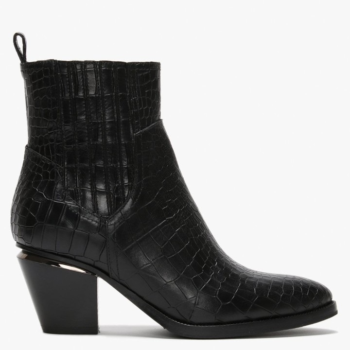 Daniel Nadial Black Leather Reptile Western Ankle Boots