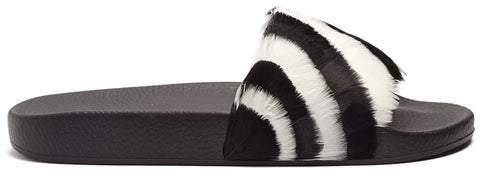 Valentino Striped Feather Embellished Slides - Womens - Black White