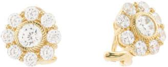 Sterling Silver Cz Flower Stud Earrings