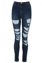 Quiz Dark Blue Ripped Skinny Jeans