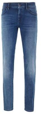 HUGO BOSS Skinny Fit Jeans In Washed Super Stretch Denim - Blue
