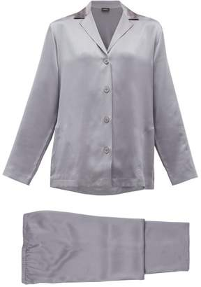 La Perla Silk-charmeuse Pyjamas - Womens - Dark Grey
