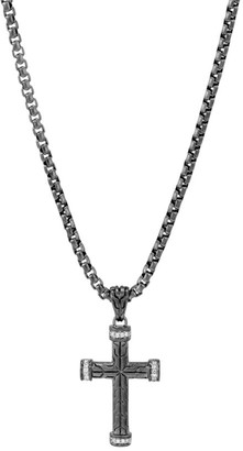 John Hardy Classic Chain Diamond Pave & Silver Cross Pendant Necklace