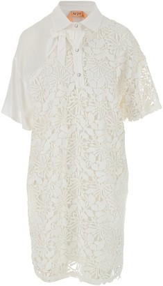 N°21 White Cotton Women's Shirt Dress w/lace