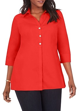 Foxcroft Plus Pamela Split Neck Shaped Tunic