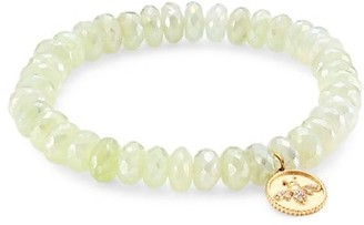 Sydney Evan 14K Yellow Gold, Prehnite & Diamond Bee Charm Beaded Bracelet