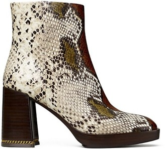 Tory Burch Ruby Python-Embossed Ankle Boots