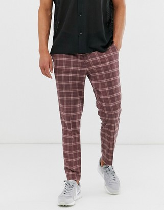 Topman skinny smart trousers in rose check-Pink