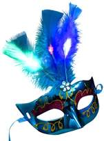 METFIT Women Venetian LED Mask Masquerade Fancy Dress Party Princess Feather Masks