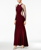 Xscape Evenings Petite Long-Sleeve Studded Colorblocked Gown