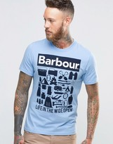 Barbour T-shirt With Life In The Wide Open Print In Blue