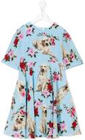 Dolce & Gabbana dog print floral dress