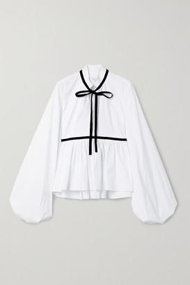 Caroline Constas Lynn Velvet-trimmed Cotton-blend Poplin Blouse - White