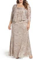 Alex Evenings A-Line Lace Gown & Jacket (Plus Size)