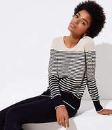 LOFT Petite Striped Refined Scoop Neck Sweater