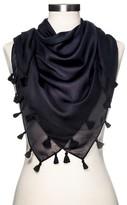 Merona Women's Fashion Scarf Black with Tassels