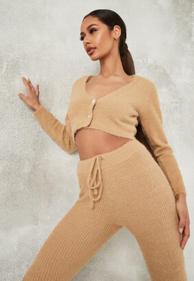 Missguided Petite Camel Co Ord Crop Knit Cardigan