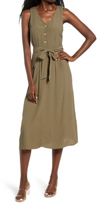 Rowa Button Front Midi Dress