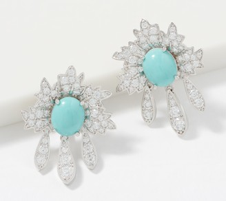 Diamonique TOVA Simulated Turquoise Flower Earrings Sterling Silver