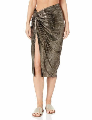 Kenneth Cole New York Women's Twist Front Skirt Swimsuit Cover Precious Metals XL