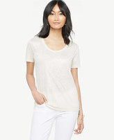 Ann Taylor Scoop Neck Linen Sunday Tee - In Shimmer