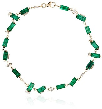 Suzanne Kalan 18kt Yellow Gold Emerald And Diamond Tennis Bracelet