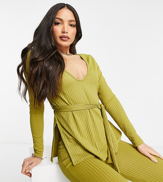 Club L London Tall ribbed plunge neck top set in green