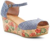 Toms Floral Cork Platform Wedge Sandal