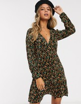 Asos Design DESIGN long sleeve mini plisse tea dress pep hem in ditsy print