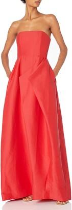 Halston Women's Strapless Silk Faille Gown with Folded Drape Skirt