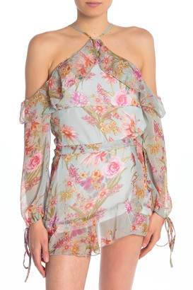 Raga Morning Floral Cold Shoulder Blouse