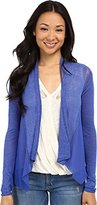Lucky Brand Women's Woven Mixed Cardigan Sweater