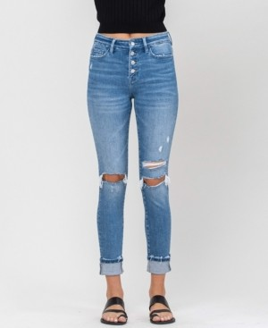 VERVET Women's High Rise Distressed Button Up Cuffed Ankle Skinny Jeans