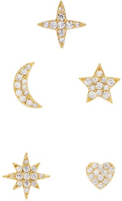 Fallon Essentials Pave Crystal-embellished Stud Earrings - Set Of Five